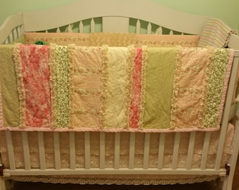 Shabby Chic crib bedding quilt, custom, made to order
