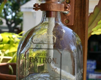 2 Pack ---  Patron Tequila Tiki Torch / Oil Lamp with bottle & Hardware