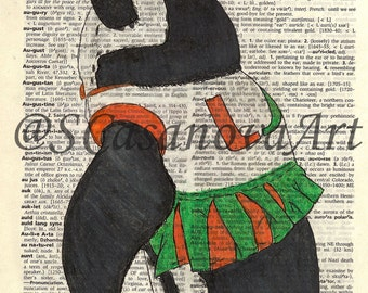 University of Miami Cheerleader Penguin on Dictionary Paper - Art Print
