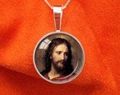 JESUS CHRIST Sterling Silver Pendant Christian Necklace Self-Realization Jewelry SRF Guru Yogananda Necklace Kriya Yoga Pendant 20mm
