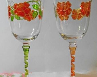 "Decorative Wine Glasses  3.5""x 8.5""  (Pair)"