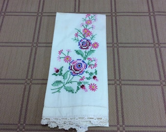 Vintage Cross Stitch Kitchen Towel