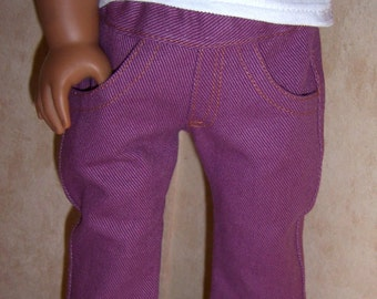 Purple denim jeans for your American Girl or other 18 inch doll