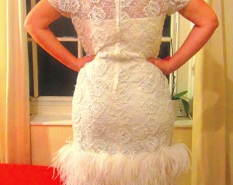SALE // Vintage Embroidered Ostrich Feather Dress