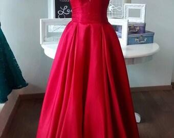 Red taffeta empire waist V-neck evening gown