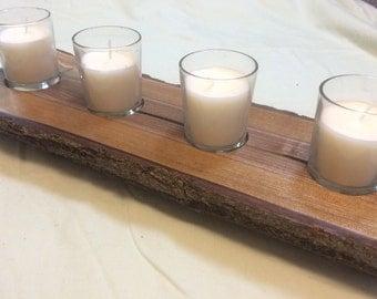 Walnut Log Votive/Tea Light Candle Holder