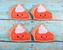 Pumpkin Pie Felties (SET OF 4) Felt Appliques, Hair Bow Centers, Felt embellishments, Embroidered Appliques, Fall Thanksgiving Felties