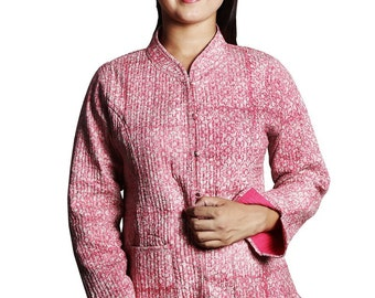 Cotton Quilted Jacket Pink Color