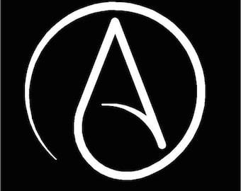 Atheist, Atheism cut vinyl window/bumper sticker