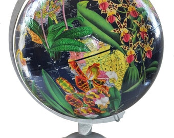 Navy Vintage Globe Decoupaged with Orchids
