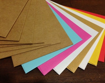 Recycled folded kraftpaper cards 350gsm, 3 pack- choice of colour envelopes