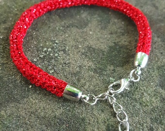 Red Sparkly Knitted Bracelet
