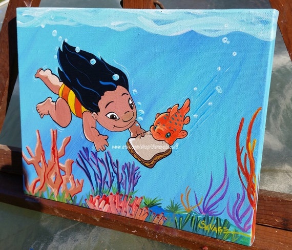 Lilo and pudge the weather controlling fish 8 x 10 ooak for Pudge the fish
