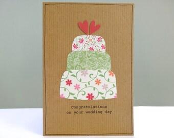 Wedding card congratulations - summer wedding day card - shabby chic personalised celebration cake - rustic barn wedding - Free UK delivery