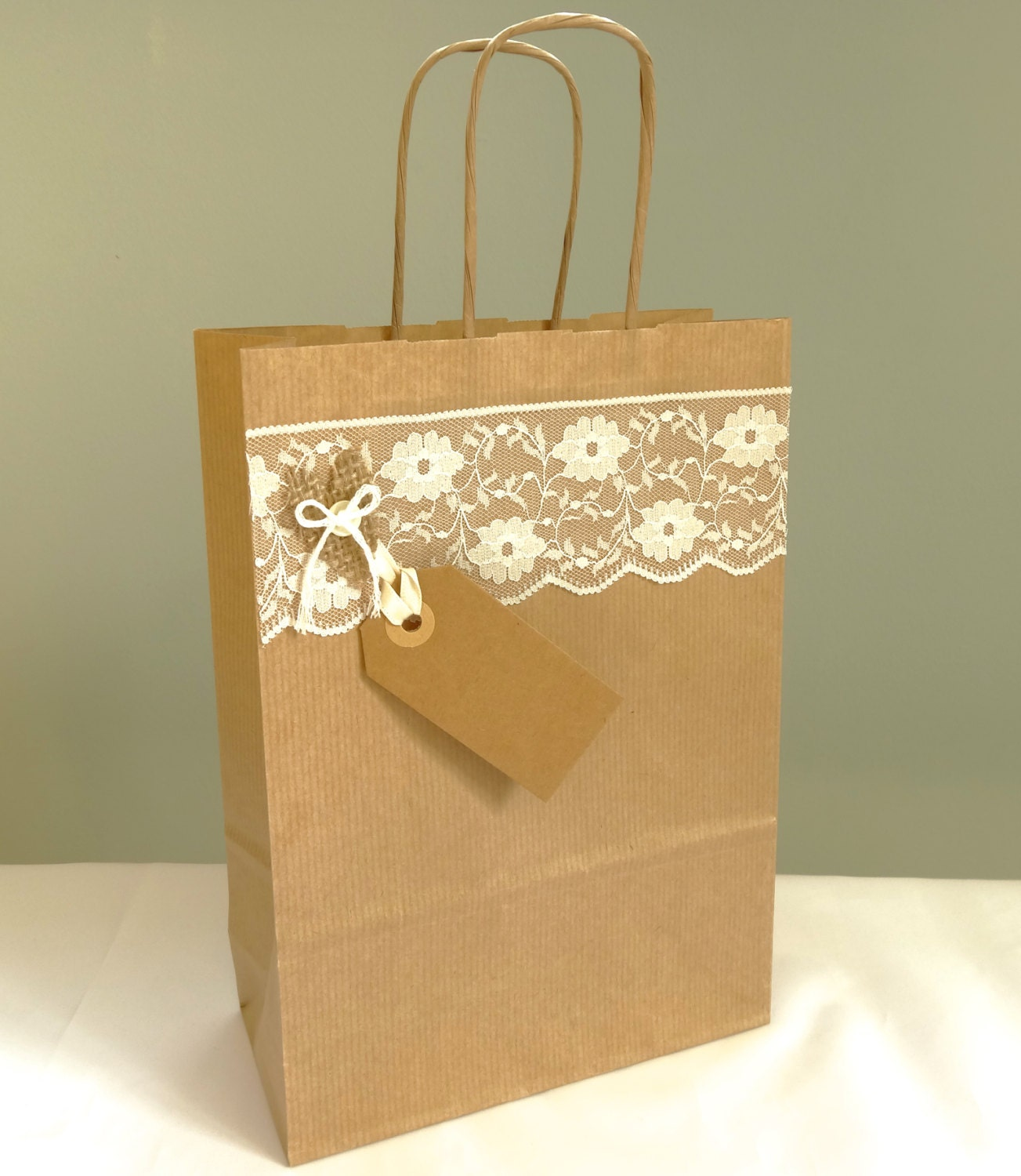 Wedding Gift Bags Bridesmaids : Wedding gift bag burlap and lace shabby chic wedding favour