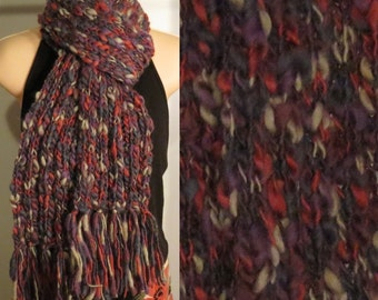Hand Made Knit Wool Scarf purple grey navy red chunky