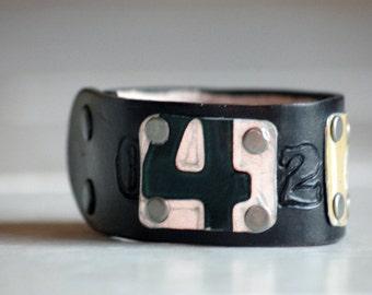 License Plate Wrist Cuff Black Leather Mens Bracelet Vintage Metal Number 4 Adjustable 2 Snaps