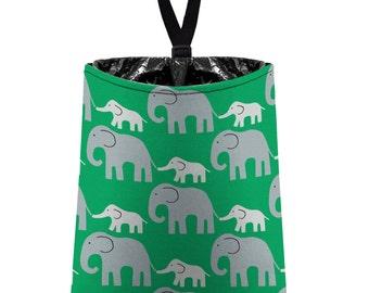 Car Trash Bag // Auto Trash Bag // Car Accessories // Car Litter Bag // Car Garbage Bag - Elephants (grey on grass green) // Car Organizer