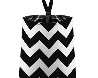 Car Trash Bag // Auto Trash Bag // Car Accessories // Car Litter Bag // Car Garbage Bag - Chevron - Black and White