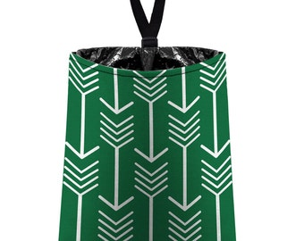 Car Trash Bag // Auto Trash Bag // Car Accessories // Car Litter Bag // Car Garbage Bag - Arrows (dark green and white) // Car Organizer