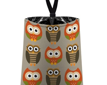 Car Trash Bag // Auto Trash Bag // Car Accessories // Car Litter Bag // Car Garbage Bag - Owls - Orange Taupe Green Tan // Car Organizer