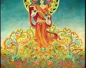 Temperance Goddess of Harmony Psychedelic Tarot Art 5x7 Greeting Card