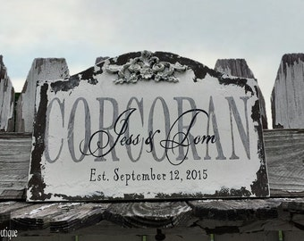 CUSTOM WEDDING SIGN, Personalized Wedding Sign, Vintage Sign, Family Sign, Cottage Decor, Shabby Chic Sign, Distressed Sign,13 x 9