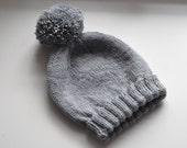 Handknit 100% Wool Pom Pom Beanie Hat - Grey