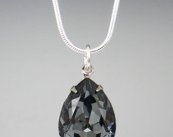 Grey Rhinestone Necklace Wedding Jewelry Bridesmaid Necklace Swarovski Crystal Silver Night Gray