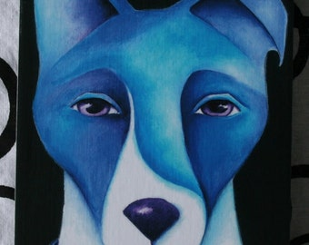 Blue Dog Print on wood 3.5 X 5 reproduction Terrier