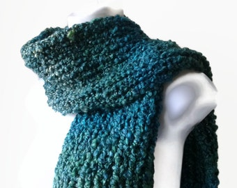 Chunky Knit Scarf Blue Green Ombre Soft Teal Knit Scarf Men Women Unisex COSIMA Ready to Ship - Autumn, Winter Fashion