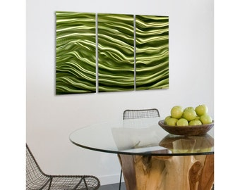 Green Modern Metal Wall Art - Bright Colorful Wall Accent - Home Decor - Abstract Metal Painting - Green Decor - Quiet Rhapsody by Jon Allen