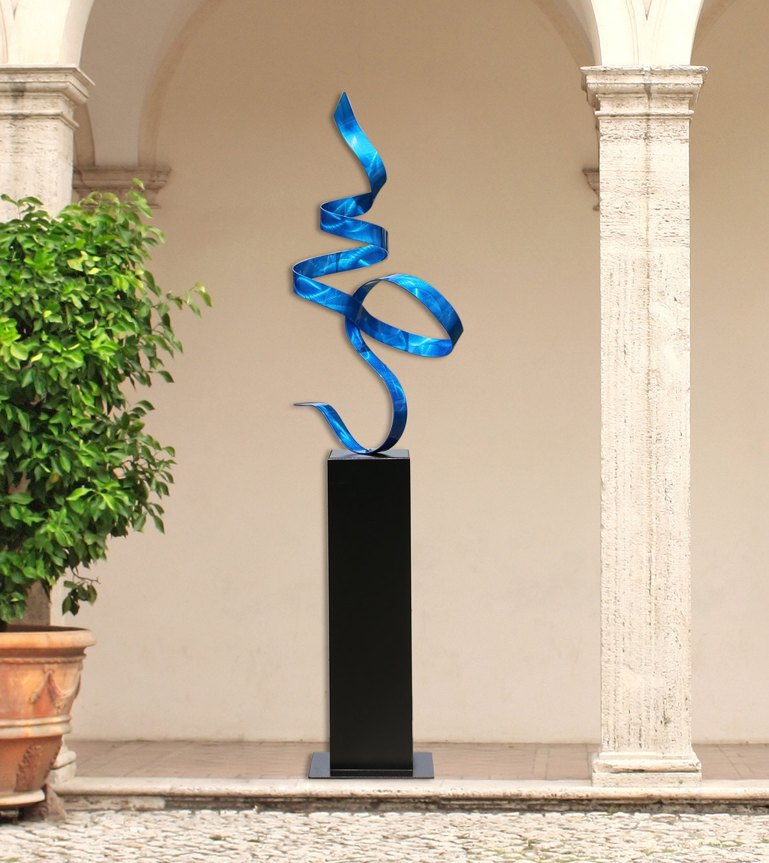 Extra large contemporary blue indoor outdoor metal sculpture for Sculpture contemporaine