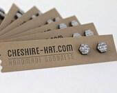 Dictionary Hexagon Bamboo & Resin Stud Earrings