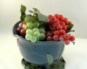 Berry colander Ceramic Handmade Berry Bowl on Leaf Tray - ceramic strainer sieve in purple