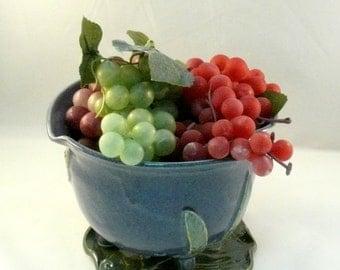 Berry colander Ceramic Handmade Berry Bowl on Leaf Tray - ceramic strainer sieve in purple
