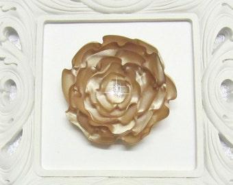 Handmade FLAX Satin Flower hair clip, hair accessory, wedding, prom, formal, bridesmaid, bridal, International Shipping