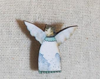 Cat Angel Brooch Pin ,  Animal Stick Pin , Angel Pin , Collage Jewelry , Mixed Media Jewelry