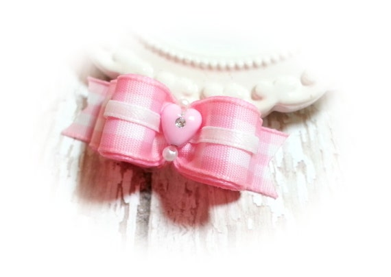 Valentines Day Pink Heart Gingham Dog Bow, Pink Heart Pet Bow, Pink Pet Bow Accessory