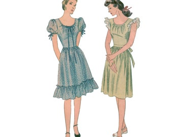 40s Peasant Dress uncut vintage pattern 32-26.5-33 Mother and Daughter 1269 ruffle Puff Sleeves