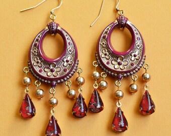 Statement Boho Earrings, Boho Vintage Burgundy Wine with Gold Floral Chandelier Teardop and Pearl Earrings, Vintage Lucite Statement Earring