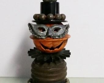 Halloween Pumpkin STUBBY STU Halloween Folk Art assemblage Primitive OOAK Altered