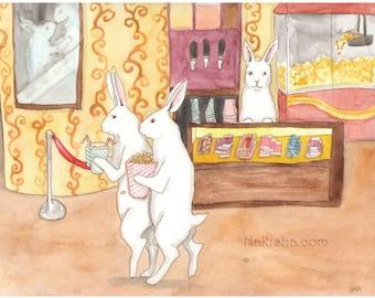 Fine Art Print - Rabbits - At the Movies