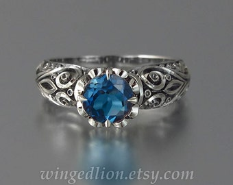 BEATRICE silver ring with London Blue Topaz