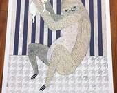 "Hand Painted Test Prints 1-4  ""Lucky"" - Sloth and Maneki Neko"
