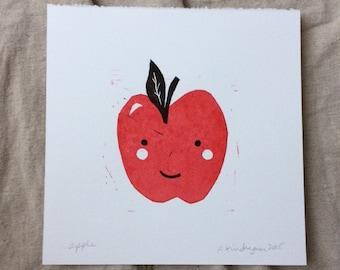 red happy apple print