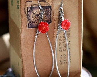 Ladybird - Strung-Out guitar string hammered feather earrings with coral