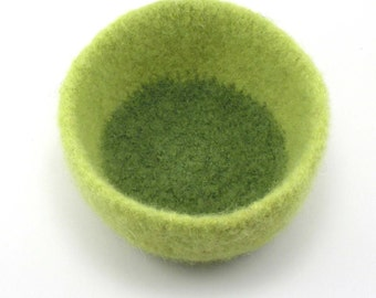 Felted wool bowl - wool felt bowl - lemongrass and leaf green