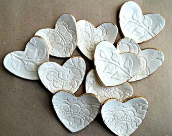 TEN Ceramic OFF WHITE Ring Dish Bridal Shower Baby shower Wedding Favors  lace Itty Bitty  heart bowls