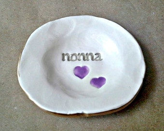 Ceramic NONNA Trinket Bowl  edged in gold  Mothers day